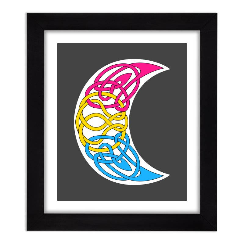 Pansexual Pride Celtic Moon Home Framed Fine Art Print by Artistfire Studios