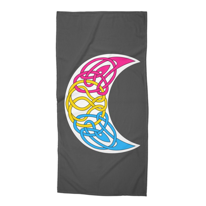Pansexual Pride Celtic Moon Accessories Beach Towel by Artistfire Studios