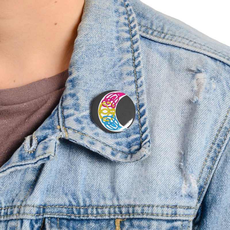 Pansexual Pride Celtic Moon Accessories Button by Artistfire Studios