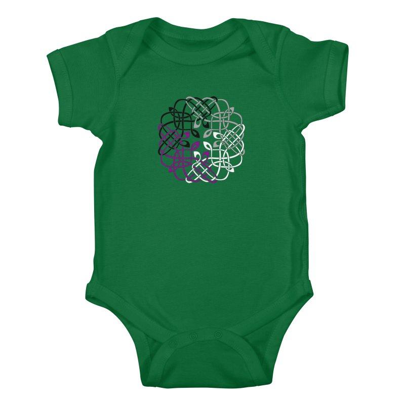 Asexual Pride Celtic Design Kids Baby Bodysuit by Artistfire Studios