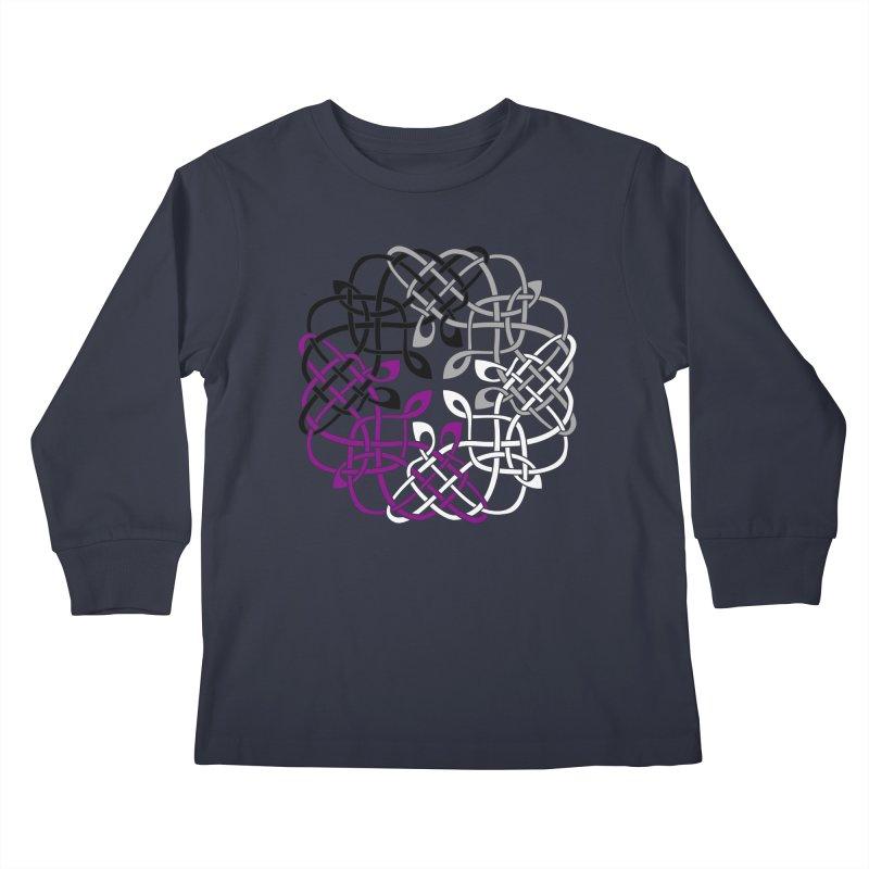 Asexual Pride Celtic Design Kids Longsleeve T-Shirt by Artistfire Studios