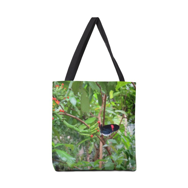 Black and Red Butterfly on Green Accessories Bag by ArtsFolly's Artist Shop