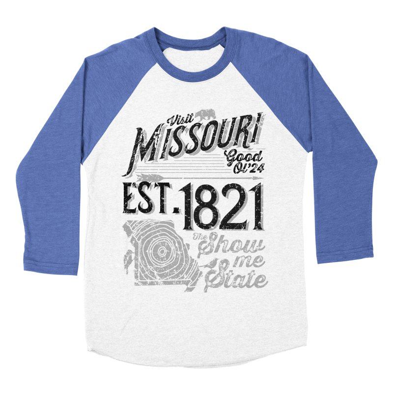 Visit Missouri Men's Baseball Triblend Longsleeve T-Shirt by Jesse Nickles