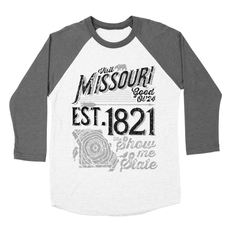 Visit Missouri Men's Baseball Triblend Longsleeve T-Shirt by Jesse Nickles