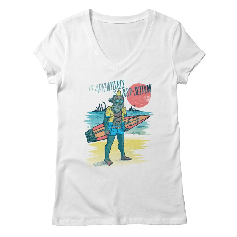 The Adventures of Bro-Seidon Women's Regular V-Neck by Jesse Nickles