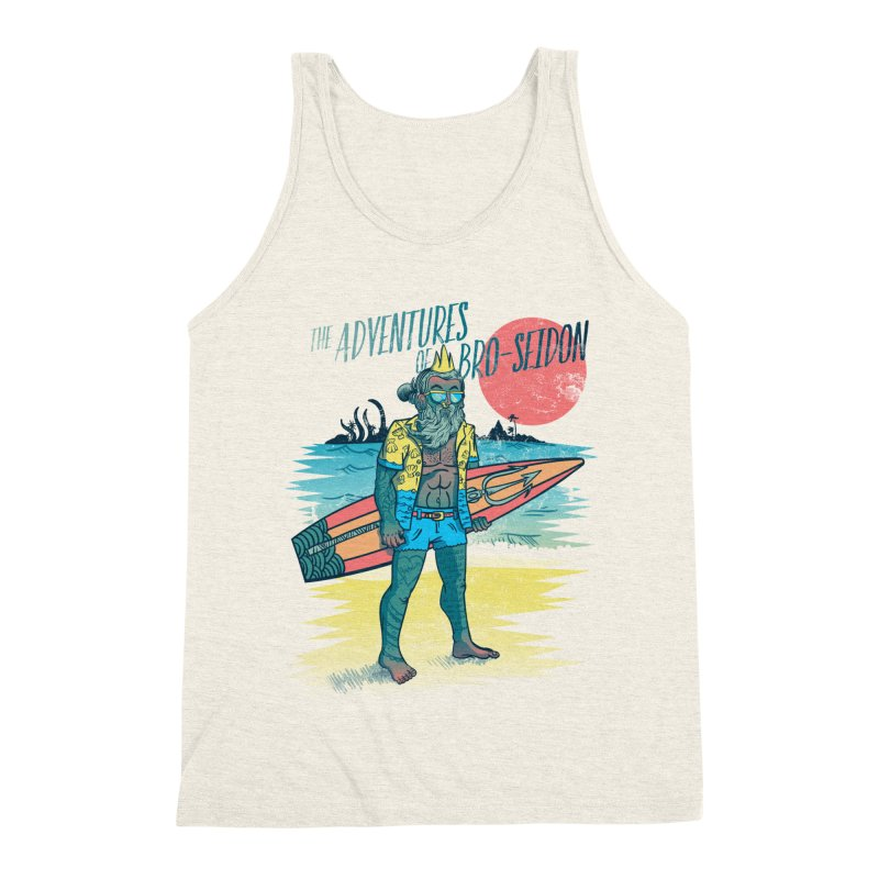 The Adventures of Bro-Seidon Men's Triblend Tank by Jesse Nickles