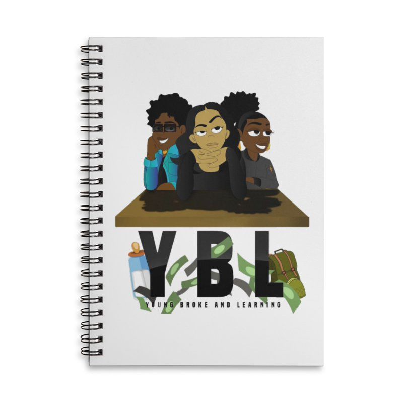 Young, Broke and Learning Accessories Lined Spiral Notebook by Audio Wave Network