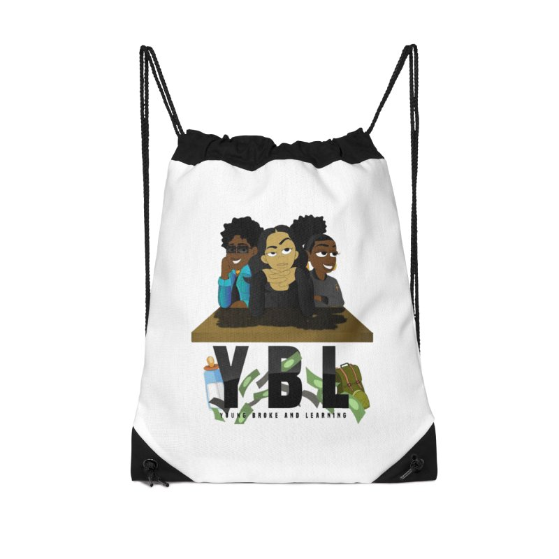 Young, Broke and Learning Accessories Drawstring Bag Bag by Audio Wave Network