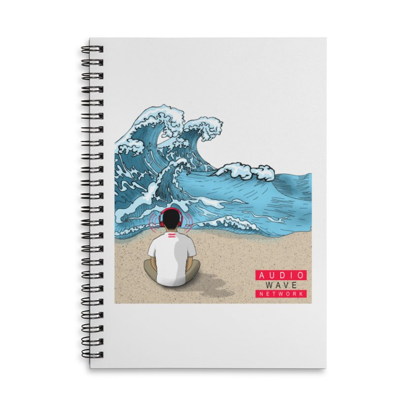 Logo Vibes Accessories Lined Spiral Notebook by Audio Wave Network