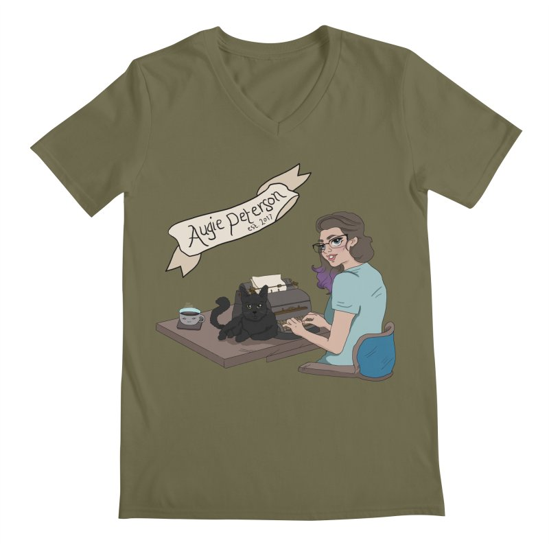 Cats and Typewriters (Desgined by Lenedoesnotpop) Men's Regular V-Neck by Augie's Attic