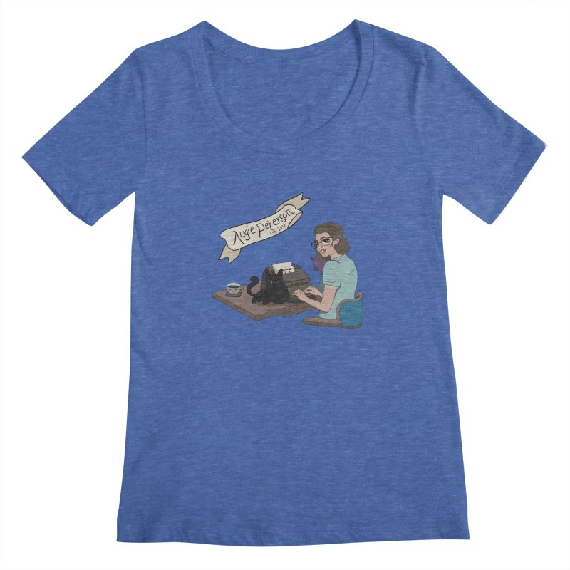 Cats and Typewriters (Desgined by Lenedoesnotpop) Women's Regular Scoop Neck by Augie's Attic