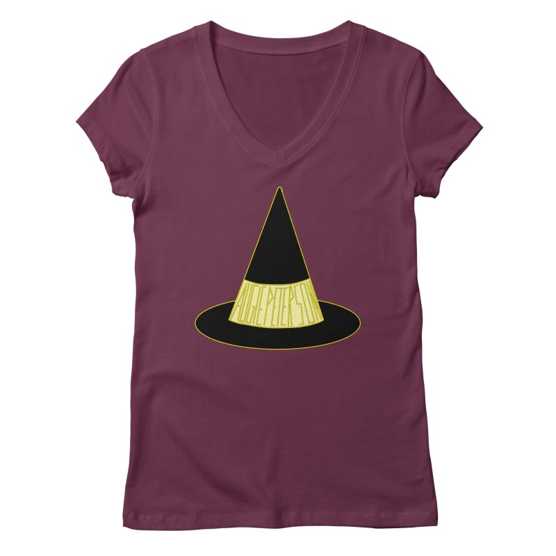 Augie Peterson Witch Hat Women's Regular V-Neck by Augie's Attic