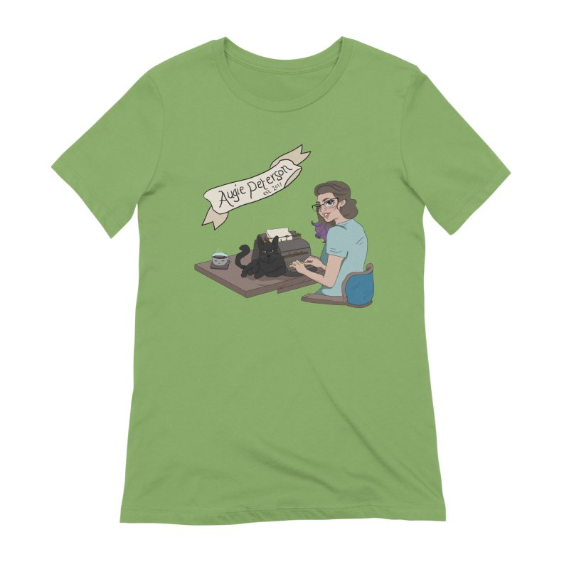 Augie at Her Desk (Designed by Lenedoesnotpop) Women's Extra Soft T-Shirt by Augie's Attic