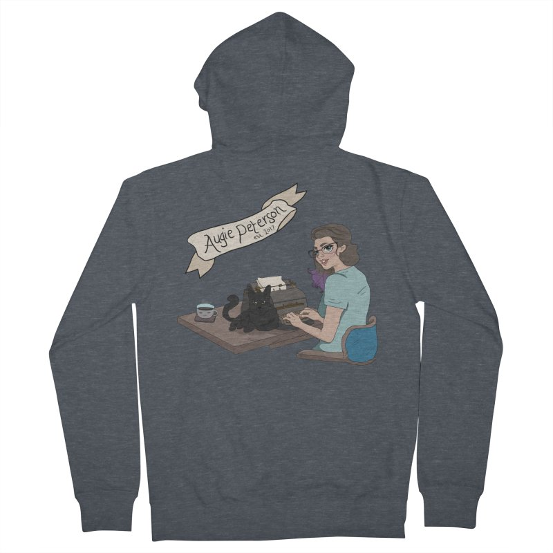Augie at Her Desk (Designed by Lenedoesnotpop) Women's French Terry Zip-Up Hoody by Augie's Attic