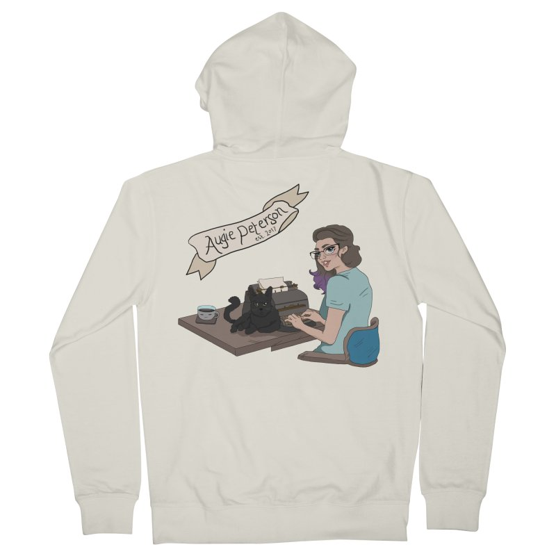 Augie at Her Desk (Designed by Lenedoesnotpop) Men's French Terry Zip-Up Hoody by Augie's Attic