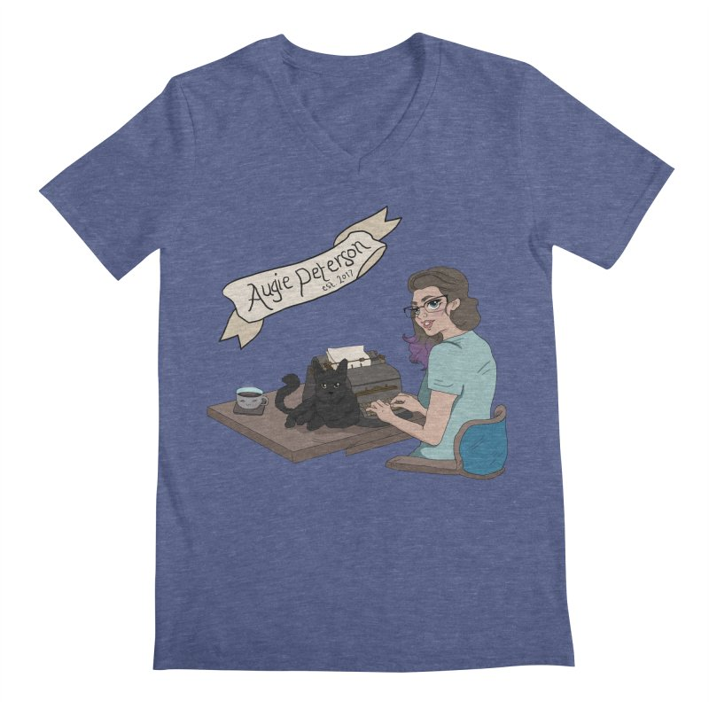 Augie at Her Desk (Designed by Lenedoesnotpop) Men's Regular V-Neck by Augie's Attic