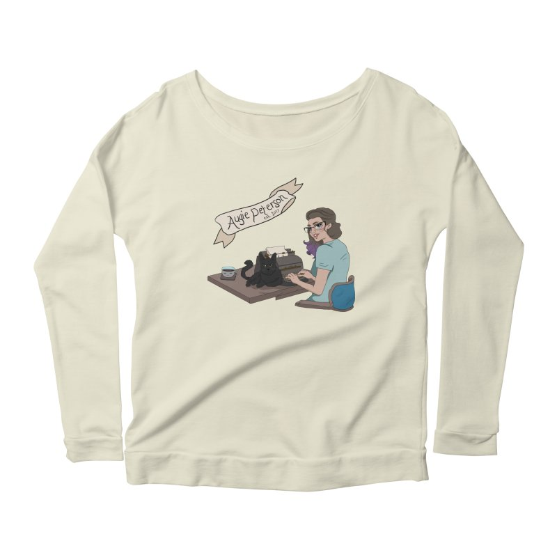 Augie at Her Desk (Designed by Lenedoesnotpop) Women's Scoop Neck Longsleeve T-Shirt by Augie's Attic