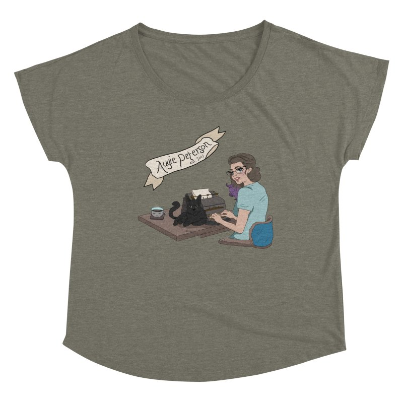 Augie at Her Desk (Designed by Lenedoesnotpop) Women's Dolman Scoop Neck by Augie's Attic