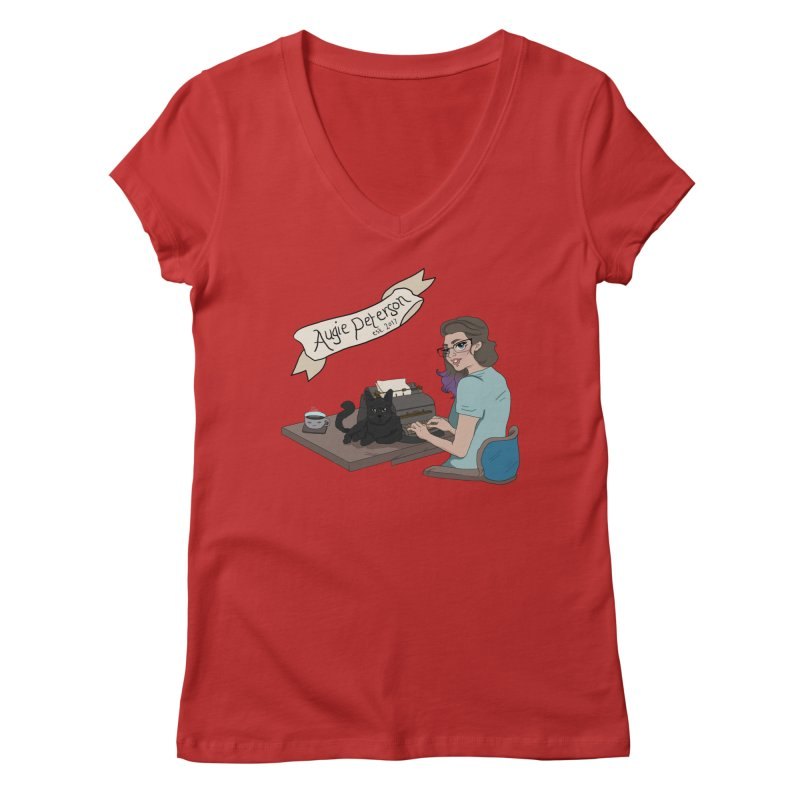 Augie at Her Desk (Designed by Lenedoesnotpop) Women's Regular V-Neck by Augie's Attic