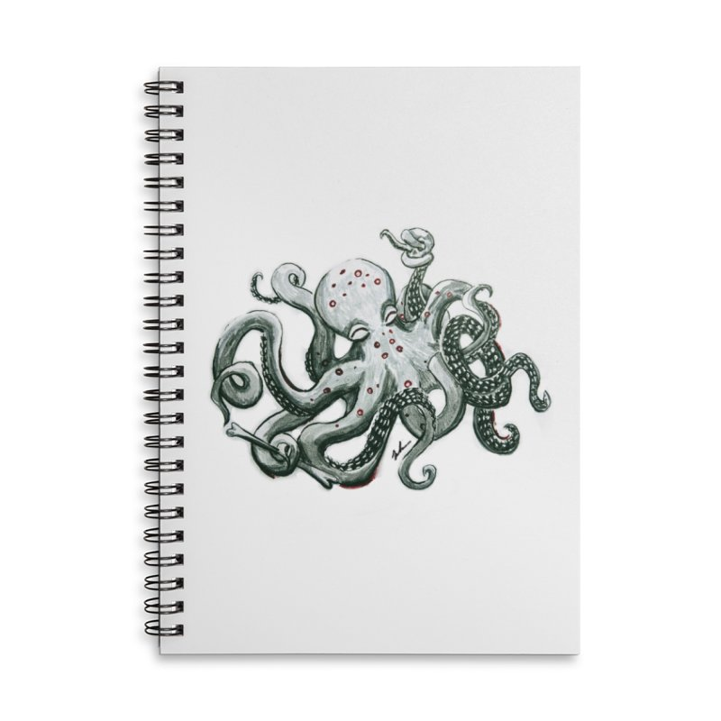 Deep Dive Octopus (Designed by Rogue Duck Studio) Accessories Lined Spiral Notebook by Augie's Attic
