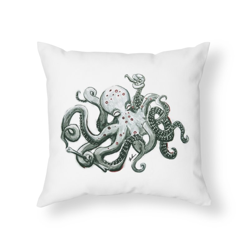 Deep Dive Octopus (Designed by Rogue Duck Studio) Home Throw Pillow by Augie's Attic