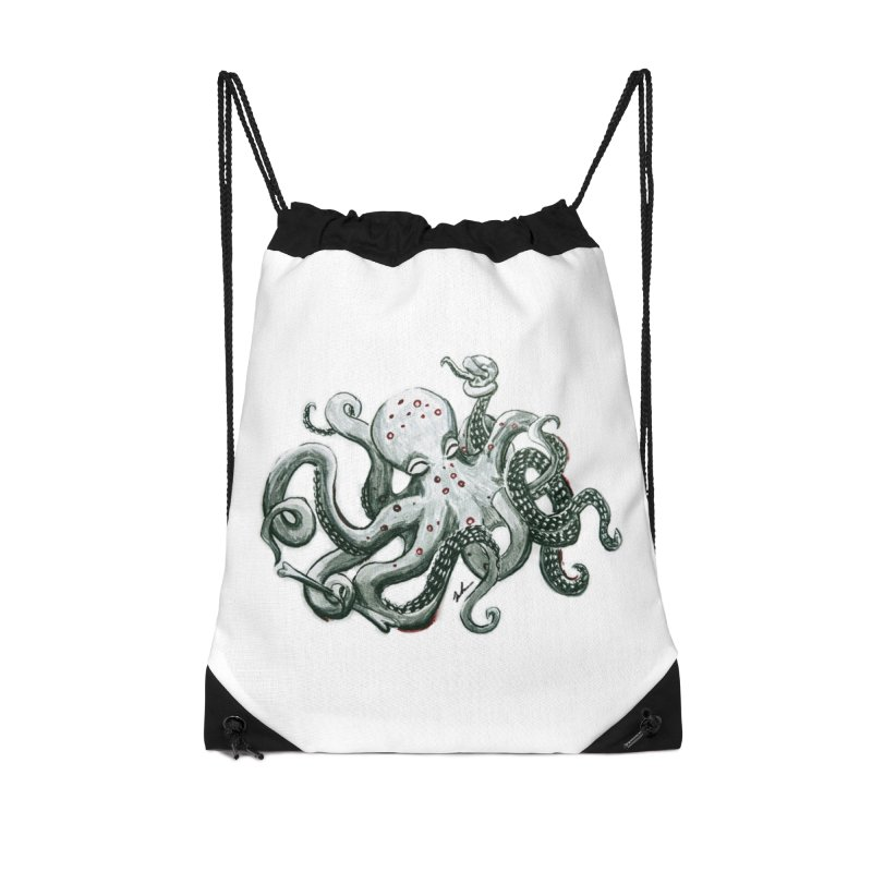 Deep Dive Octopus (Designed by Rogue Duck Studio) Accessories Drawstring Bag Bag by Augie's Attic
