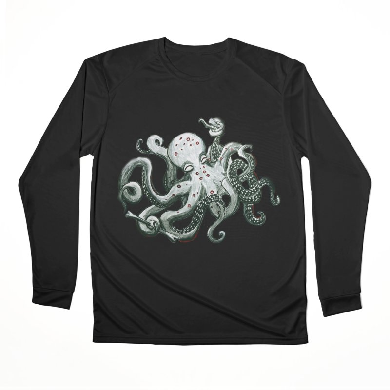 Deep Dive Octopus (Designed by Rogue Duck Studio) Women's Performance Unisex Longsleeve T-Shirt by Augie's Attic