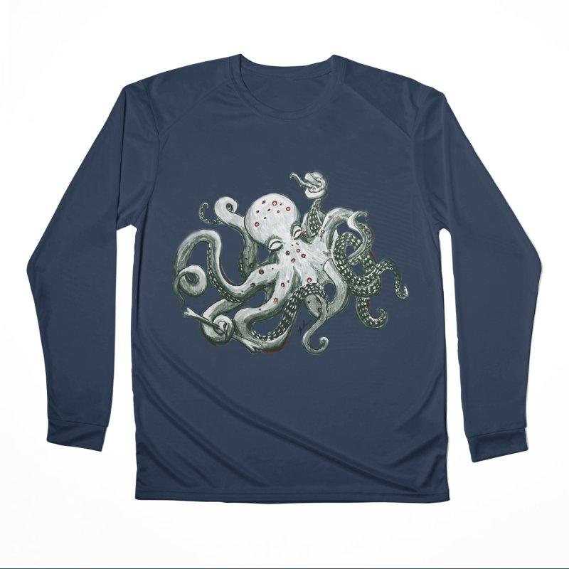 Deep Dive Octopus (Designed by Rogue Duck Studio) Women's Performance Unisex Longsleeve T-Shirt by Augie's Attic
