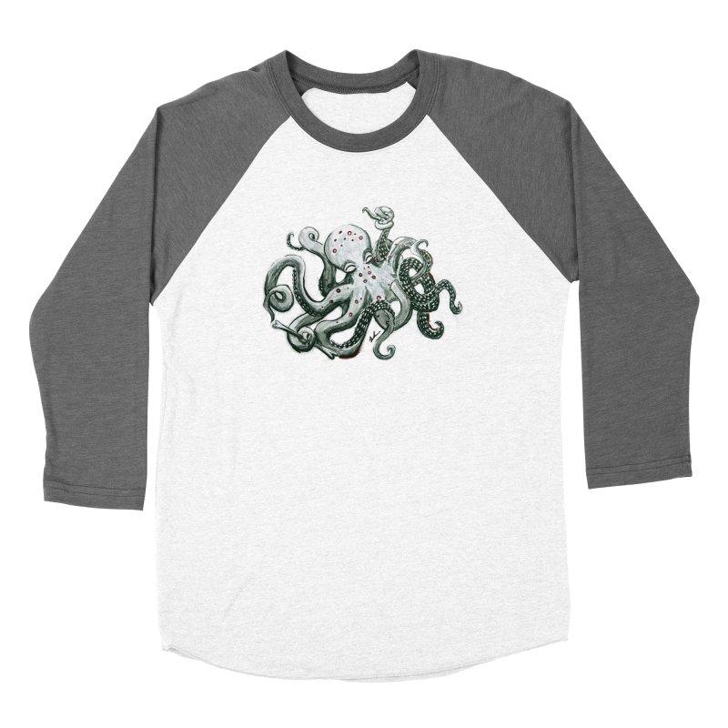 Deep Dive Octopus (Designed by Rogue Duck Studio) Men's Baseball Triblend Longsleeve T-Shirt by Augie's Attic