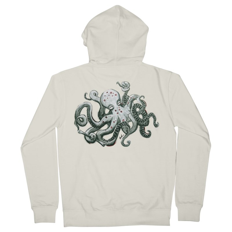 Deep Dive Octopus (Designed by Rogue Duck Studio) Men's French Terry Zip-Up Hoody by Augie's Attic