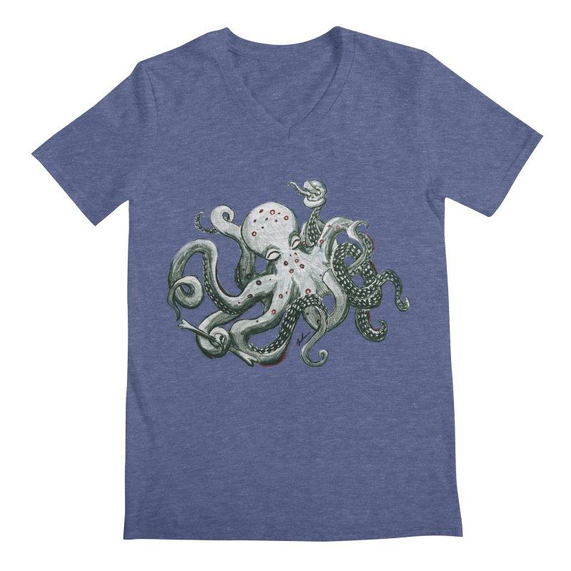 Deep Dive Octopus (Designed by Rogue Duck Studio) Men's Regular V-Neck by Augie's Attic