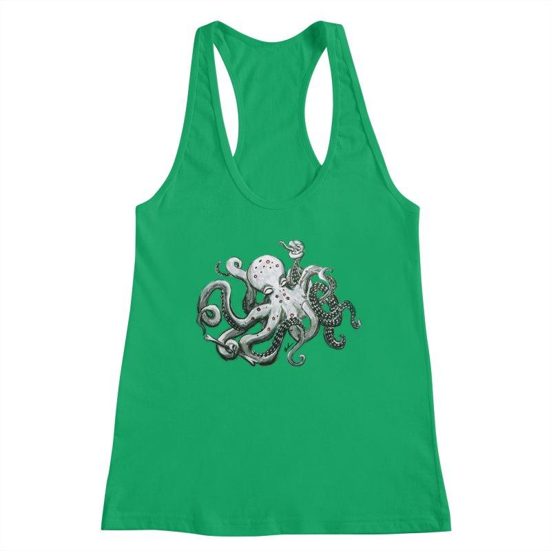 Deep Dive Octopus (Designed by Rogue Duck Studio) Women's Racerback Tank by Augie's Attic