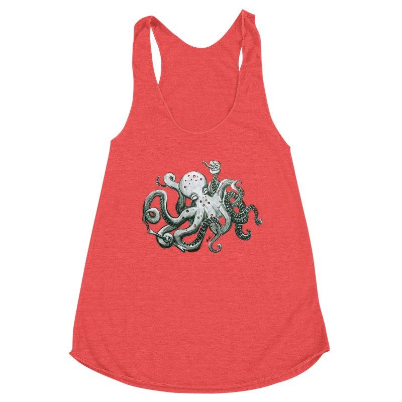 Deep Dive Octopus (Designed by Rogue Duck Studio) Women's Racerback Triblend Tank by Augie's Attic
