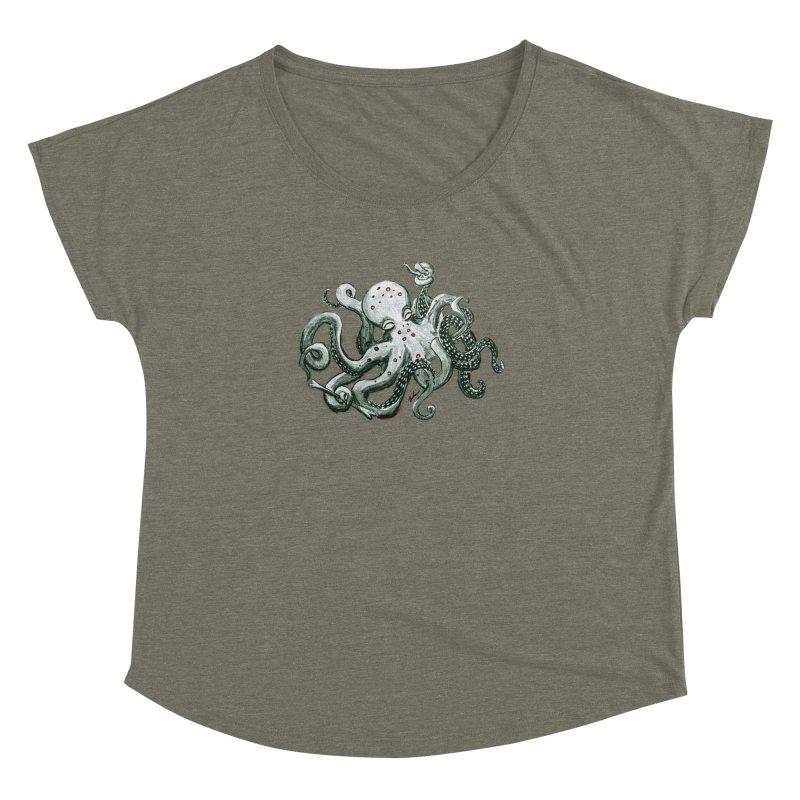 Deep Dive Octopus (Designed by Rogue Duck Studio) Women's Dolman Scoop Neck by Augie's Attic
