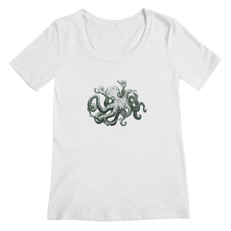 Deep Dive Octopus (Designed by Rogue Duck Studio) Women's Regular Scoop Neck by Augie's Attic