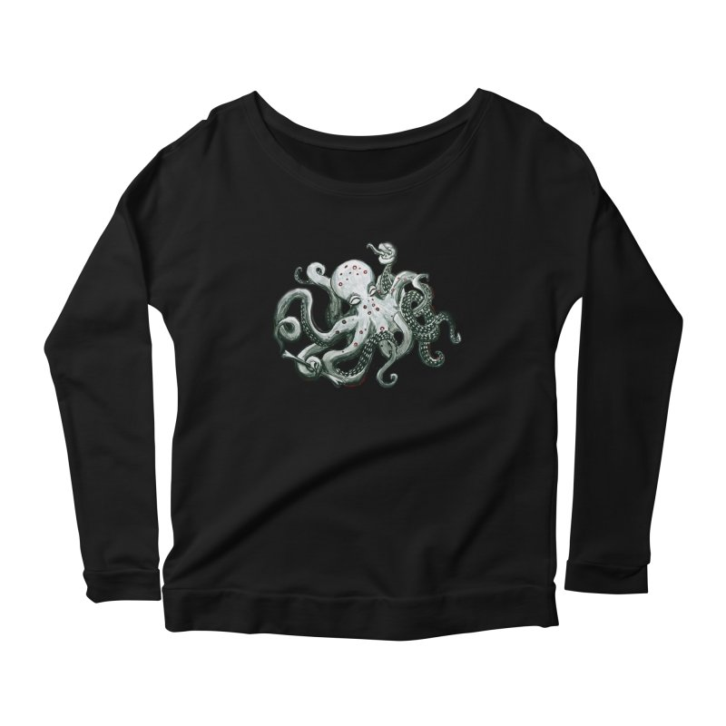 Deep Dive Octopus (Designed by Rogue Duck Studio) Women's Scoop Neck Longsleeve T-Shirt by Augie's Attic