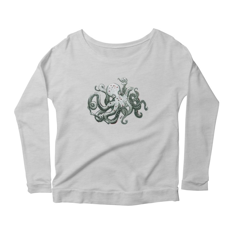 Deep Dive Octopus (Designed by Rogue Duck Studio) Women's Scoop Neck Longsleeve T-Shirt by Augie's Attic
