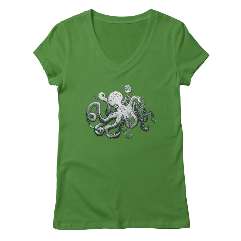 Deep Dive Octopus (Designed by Rogue Duck Studio) Women's Regular V-Neck by Augie's Attic