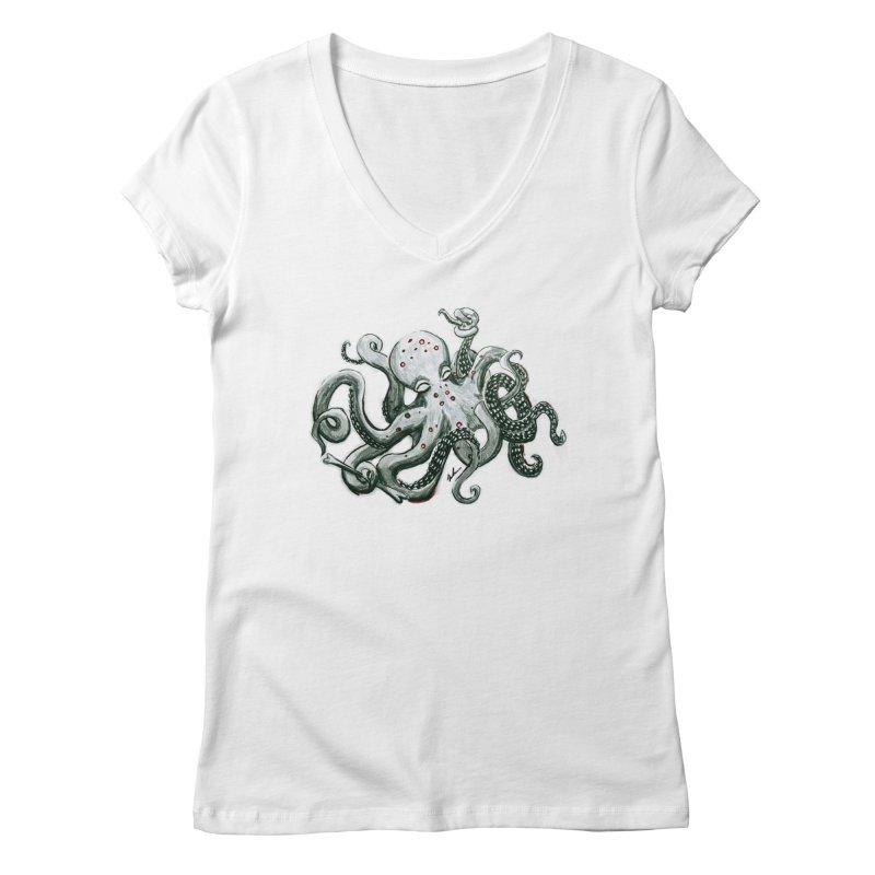 Deep Dive Octopus (Designed by Rogue Duck Studio) Women's Regular V-Neck by Augie's Attic