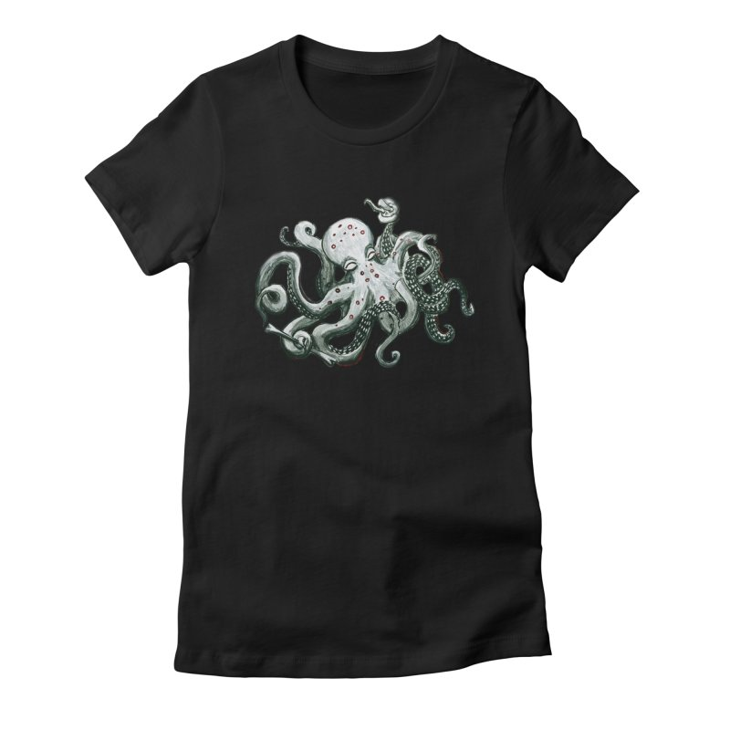 Deep Dive Octopus (Designed by Rogue Duck Studio) Women's Fitted T-Shirt by Augie's Attic
