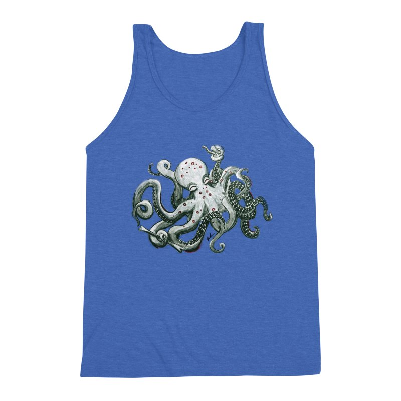 Deep Dive Octopus (Designed by Rogue Duck Studio) Men's Triblend Tank by Augie's Attic
