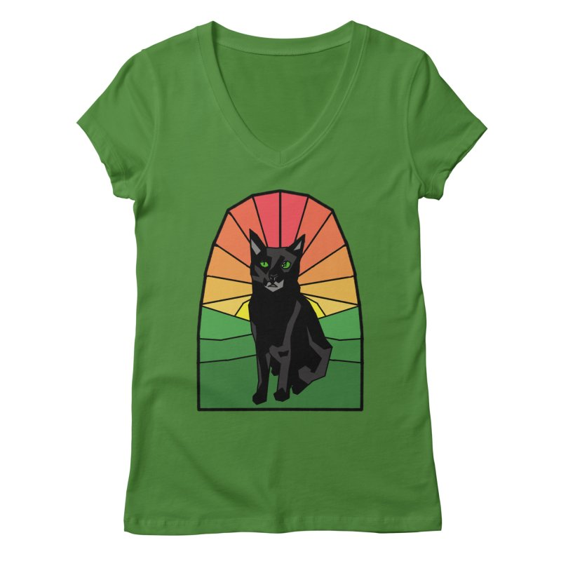Pumpkin Stained Glass Women's Regular V-Neck by Augie's Attic