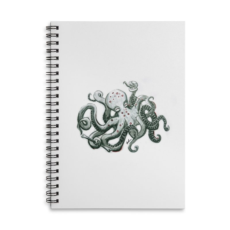 Deep Dive Octopus (Designed by Rogue Duck Arts) Accessories Lined Spiral Notebook by Augie's Attic