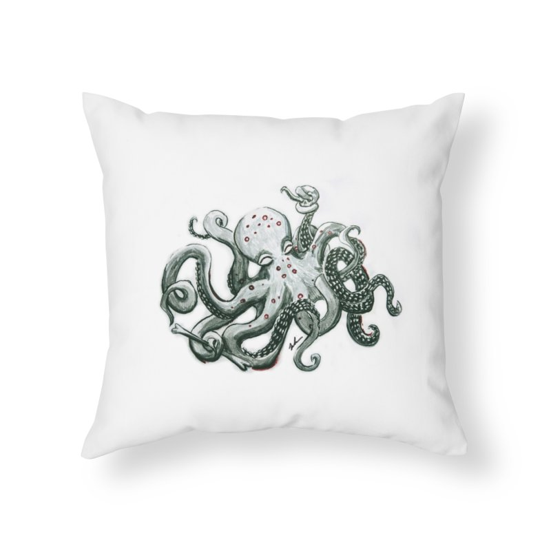 Deep Dive Octopus (Designed by Rogue Duck Arts) Home Throw Pillow by Augie's Attic
