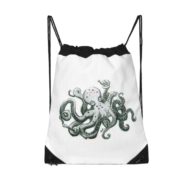 Deep Dive Octopus (Designed by Rogue Duck Arts) Accessories Drawstring Bag Bag by Augie's Attic