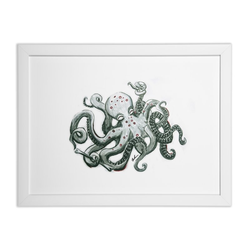 Deep Dive Octopus (Designed by Rogue Duck Arts) Home Framed Fine Art Print by Augie's Attic