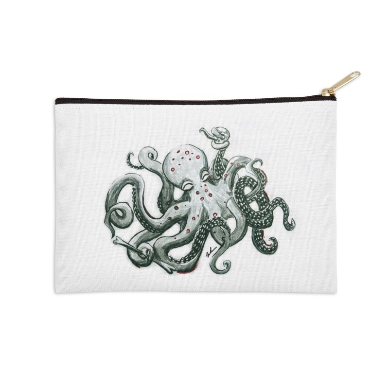 Deep Dive Octopus (Designed by Rogue Duck Arts) Accessories Zip Pouch by Augie's Attic