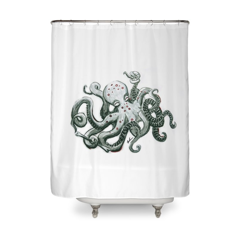 Deep Dive Octopus (Designed by Rogue Duck Arts) Home Shower Curtain by Augie's Attic