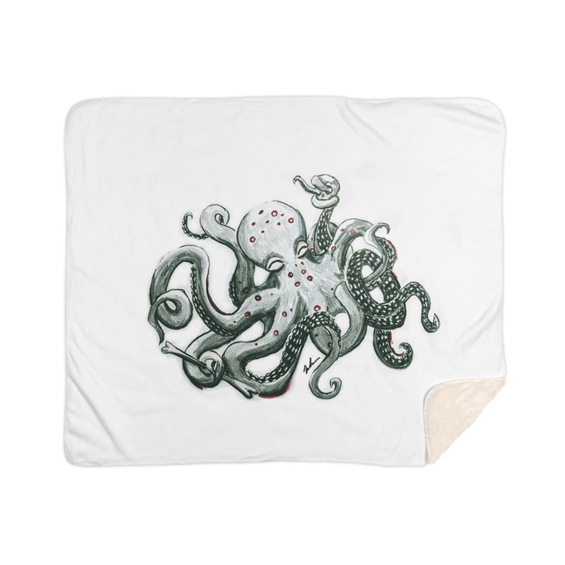 Deep Dive Octopus (Designed by Rogue Duck Arts) Home Sherpa Blanket Blanket by Augie's Attic