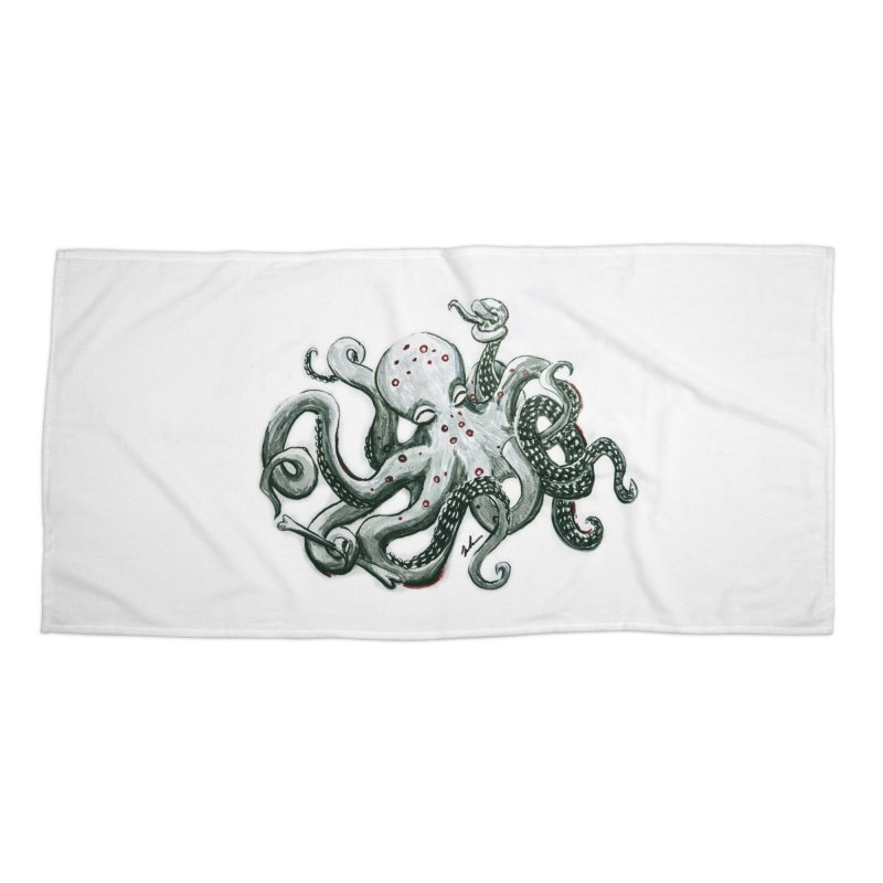 Deep Dive Octopus (Designed by Rogue Duck Arts) Accessories Beach Towel by Augie's Attic